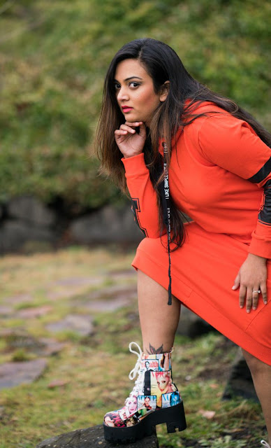 printed shoes, amiclubwear heels, hoodie dress, zaful review, ananya, seattle blogger, desi blogger, NRI, sporty look