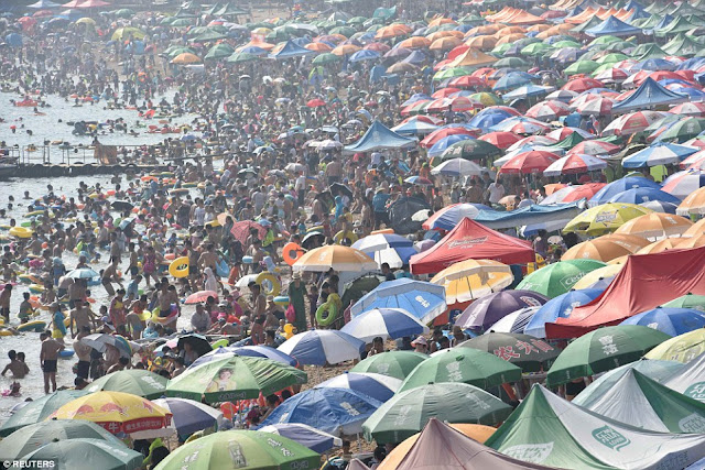 Overcrowded beach in China