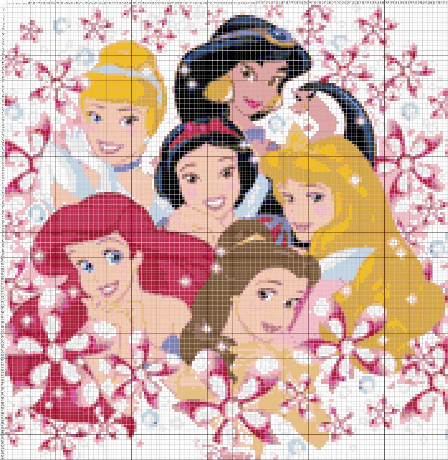 Punto croce cross stitch kit princesess disney for Schemi gratis punto croce disney
