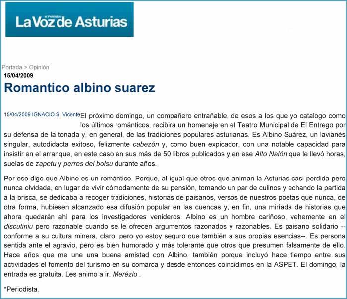 Albino Suárez recibe un homenaje en El Entrego