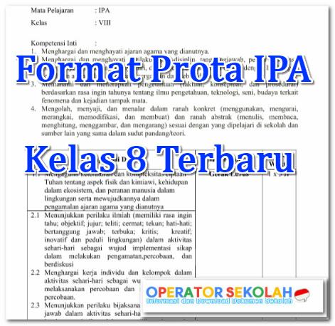 Format Prota IPA Kelas 8 Terbaru