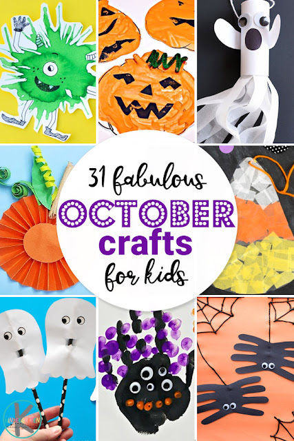 31 Fabulous October crafts for Kids - your kids are going to love these clever, unique, and fun to make pumpkin, spider, candy corn, ghost, spider, monster, Halloween crafts for toddler, preschool, kindergarten, and first grade kids. #halloween #octobercrafts #craftsforkids