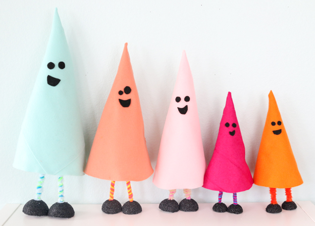 DIY colorful ghost decorations for Halloween using craft foam