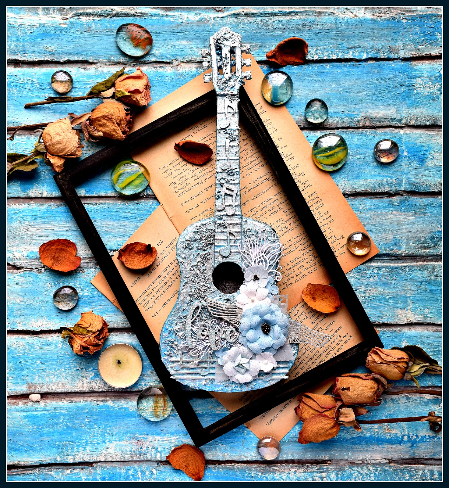 Таракан, открытка с гитарой скрапбукинг