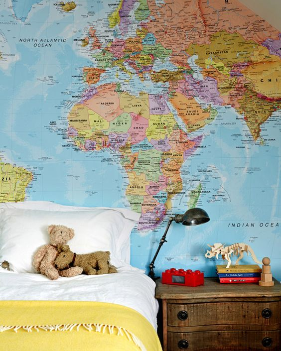 Design addict mom mapping it behind the bed for Environmental graphics giant world map wall mural