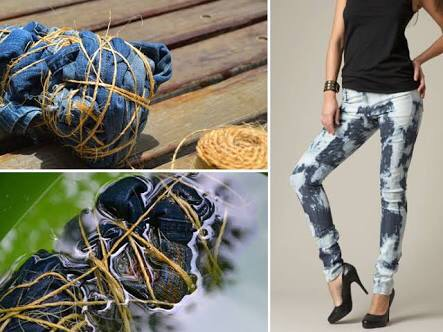 Customização de calça jeans moderna e despojada tie dye