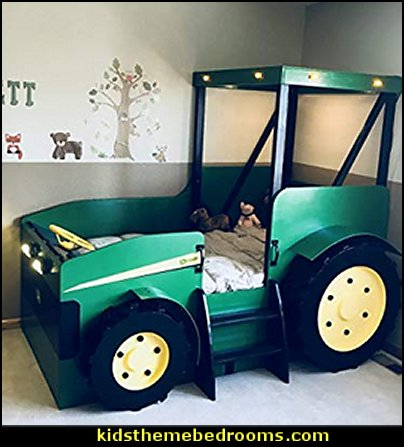 Tractor Bed Plans  kids theme beds - childrens theme beds - themed beds - kids beds - themed toddler beds - unique furniture - castle loft beds - castle beds - animal beds - car beds - boat beds - train bed - airplane bed - batman bed - princess beds -  fantasy beds - playroom beds -