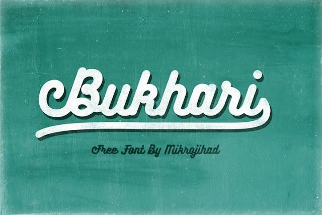 Kali ini admin membawa font berjeniskan Script Bukhari Script Font - Free Font