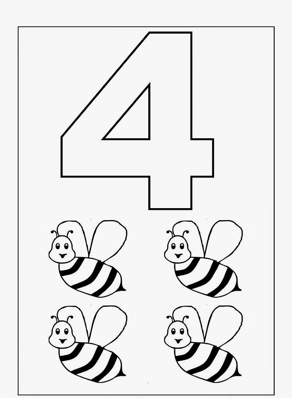 Kindergarten Worksheets: Coloring Worksheets - Maths 1-10 | free coloring worksheets for kindergarten
