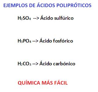 algunos ácidos polipróticos con su fórmula y su nombre: ácido sulfúrico, ácido fosfórico, ácido carbónico.