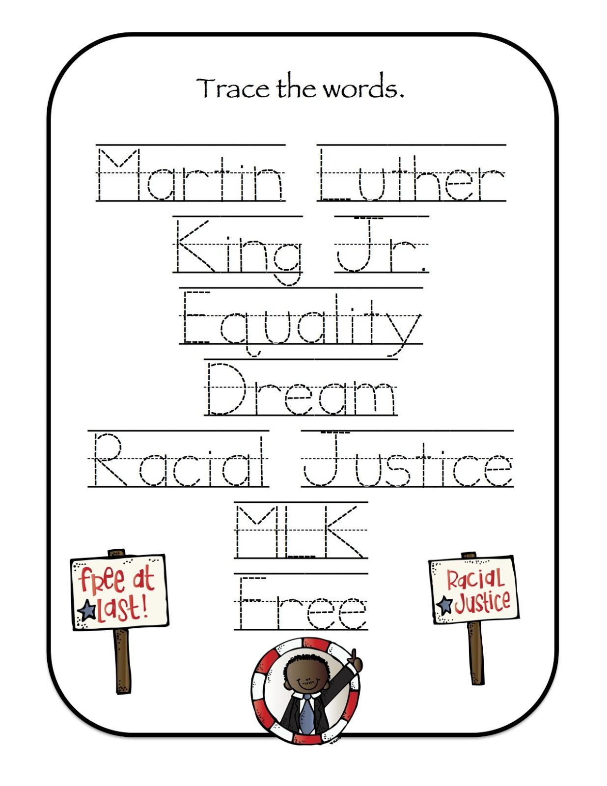 Free Worksheet Dr Martin Luther King Worksheets Jr Coloring Pages For Kindergarten