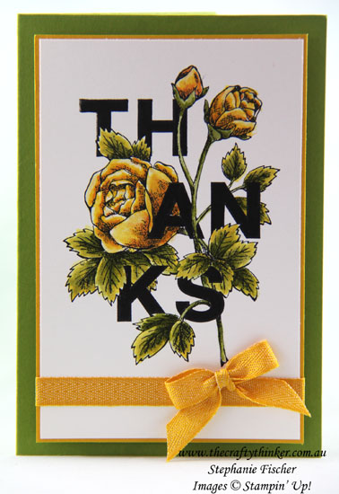 Floral Statements, Thank You card, #thecraftythinker, Stampin Up Australia Demonstrator, Stephanie Fischer, Sydney, NSW