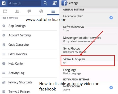 How to disable Facebook Autoplay video option during