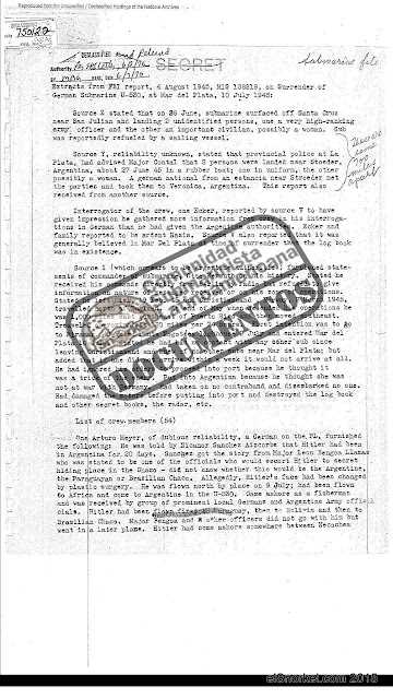 Extract from FBI report, 4 August 1945, MIS 188219, on Surrender of German Submarine U-530, at Mar del Plata, 10 July 1945.