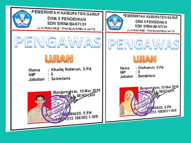 Aplikasi Cetak ID Card Peserta Dan Pengawas Ujian Terbaru 2016 SD/MI