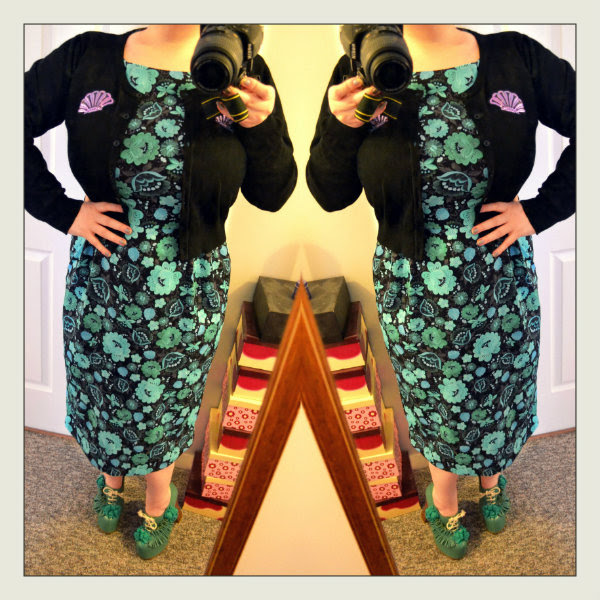 wearing asos floral wiggle dress iron fist shell cardigan plus size