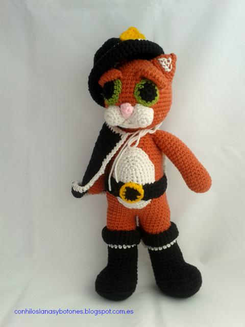 conhiloslanasybotones - El gato con botas - amigurumi