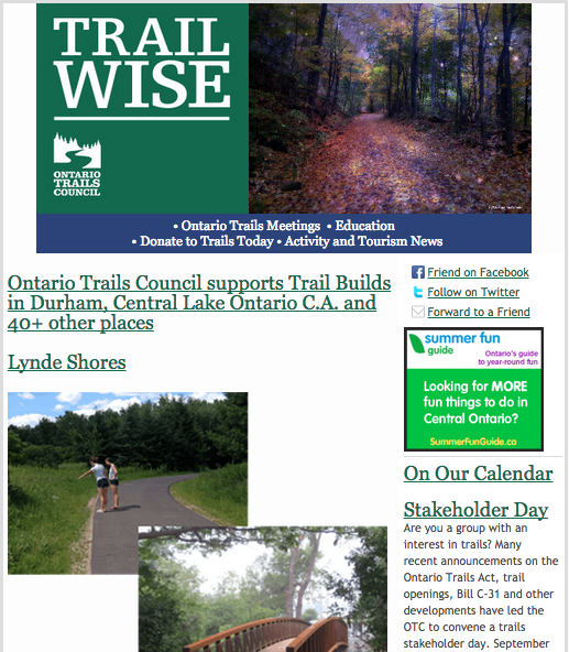 Ontario Trails Council Newsletter Trailwise