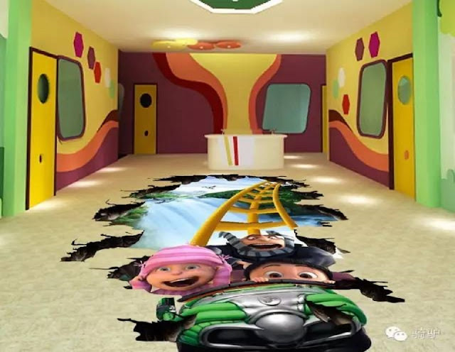 funny epoxy 3D floor designs for kids bedroom