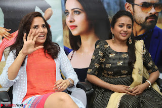 Actress Suma in Black Salwar Suit and Anusuya in orange Dress at winner movie press meet part 2 February 2017 (38).JPG