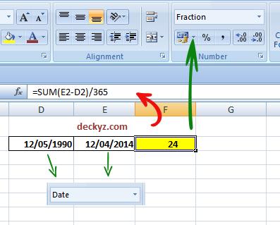 Menghitung umur di office excel 2007