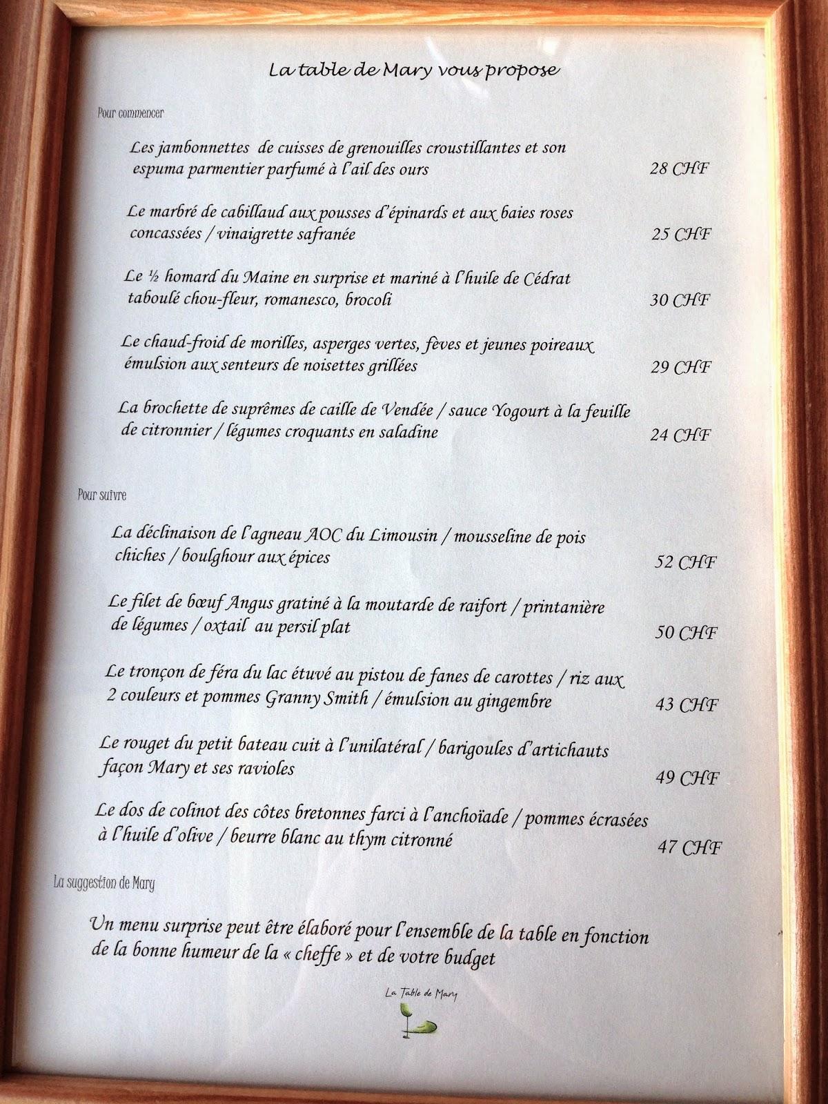 La table de mary funambul in e la table de mary for Table 9 menu