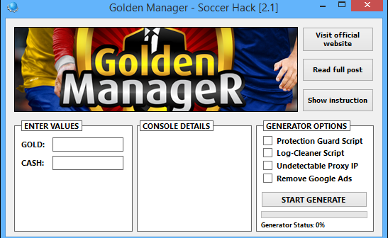Golden Manager Hack Tool