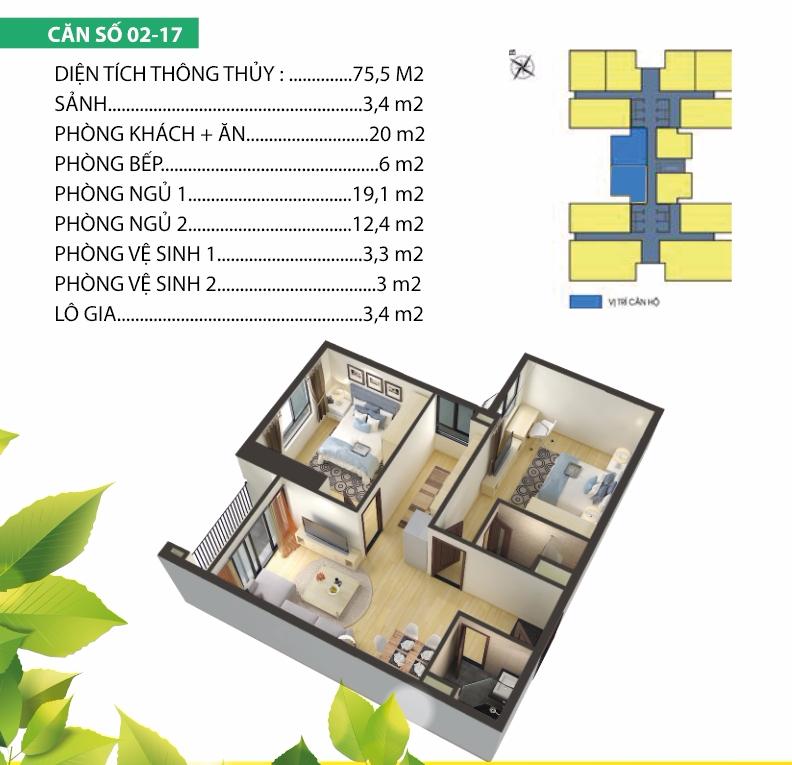 Thiết kế chi tiết căn 02 chung cư Housinco Premium