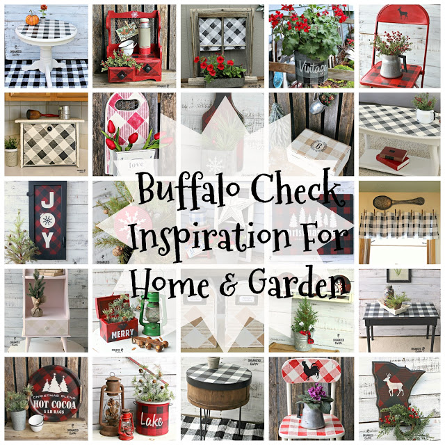 Buffalo Check Stencil Inspiration!  #buffalochecks #buffaloplaid #oldsignstencils #gardendecor #upcycle #holidaydecor