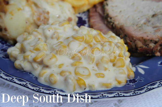 A super easy, cheesy and creamy, delicious slow cooker corn side dish, perfect for any gathering, church social, reunion or holiday.