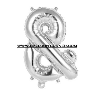 Balon Foil Huruf Ampersand (&) Warna Gold dan Silver Glossy