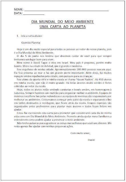 Atividades sobre o Meio Ambiente - Carta ao Planeta