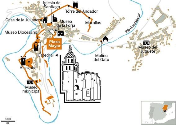 Mapa de Albarracin, uno de losp ueblos mas bonitos de España
