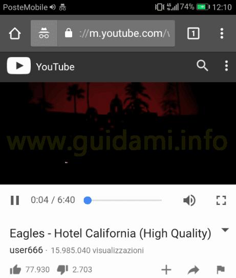 Android video YouTube in riproduzione su Chrome in incognito