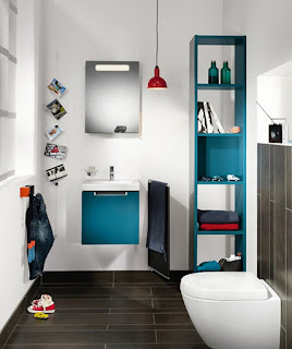 funky kids bathroom paint colour plus floating vanity cabinets feats wooden floor also vertical shelving unit