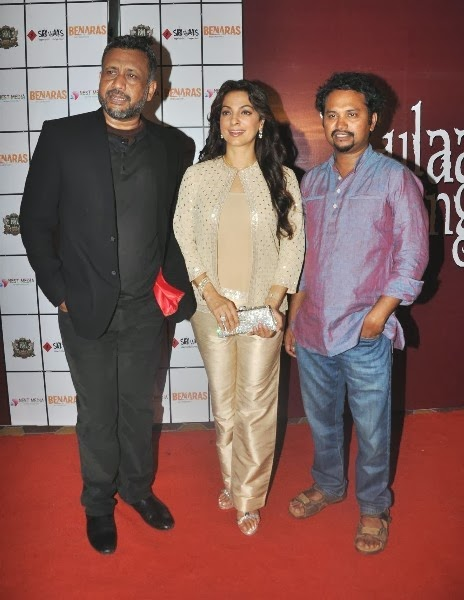 Juhi Chawla promoting Gulaab Gang movie with Director Soumik Sen