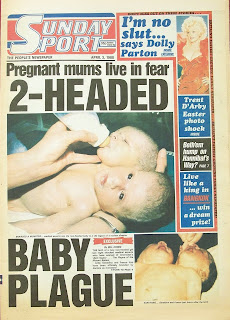 front cover of the Sunday Sport newspaper from 3rd April 1988