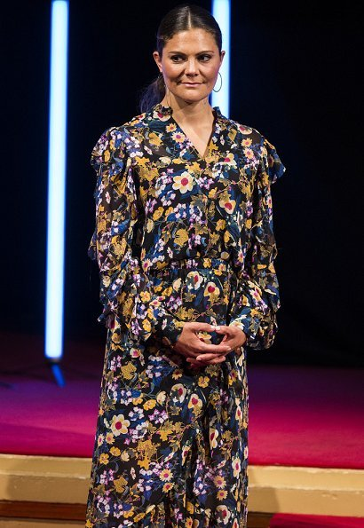 Crown Princess Victoria wore Camilla Thulin floral print dress. Erdem dress at the Grand Hotel in Stockholm