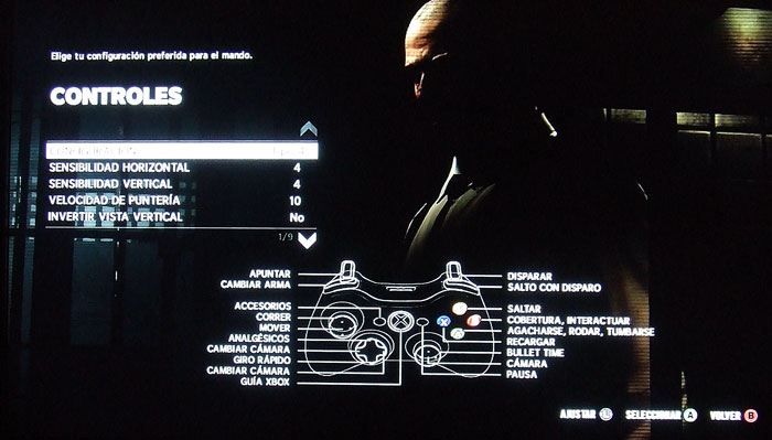 Aspecto y opciones del menú de configuración de controles del juego.