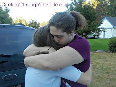 Two Sisters Saying Goodbye