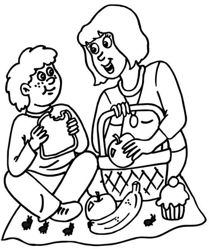 Colorea Tus Dibujos Mamá E Hijo En Picnic