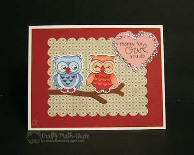 Romantic Owl Thank You Card by Crafty Math Chick | What a Hoot stamp set and dies by Newton's Nook Designs