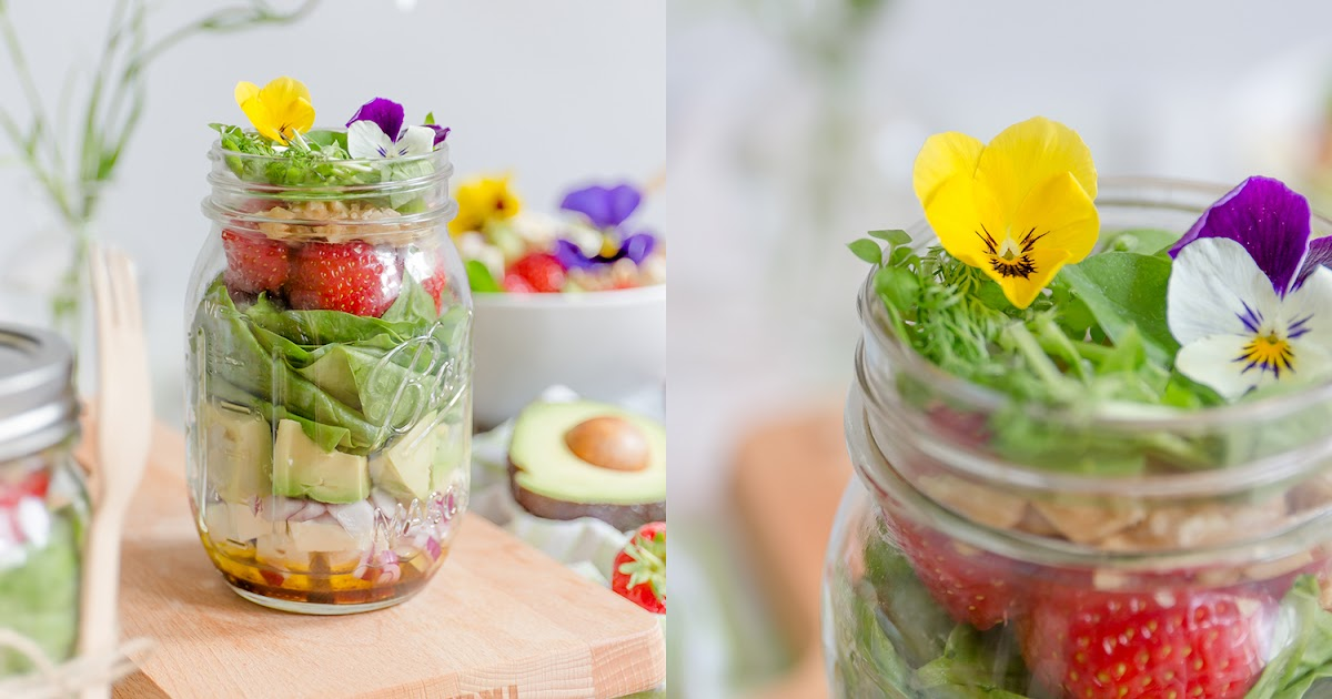 alles und anderes lunch to go avocado spinat salat im glas mit erdbeeren fetak se und honig. Black Bedroom Furniture Sets. Home Design Ideas