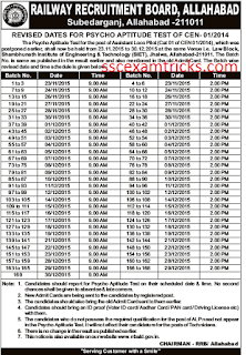 RRB Allahabad PAT Schedule 2015