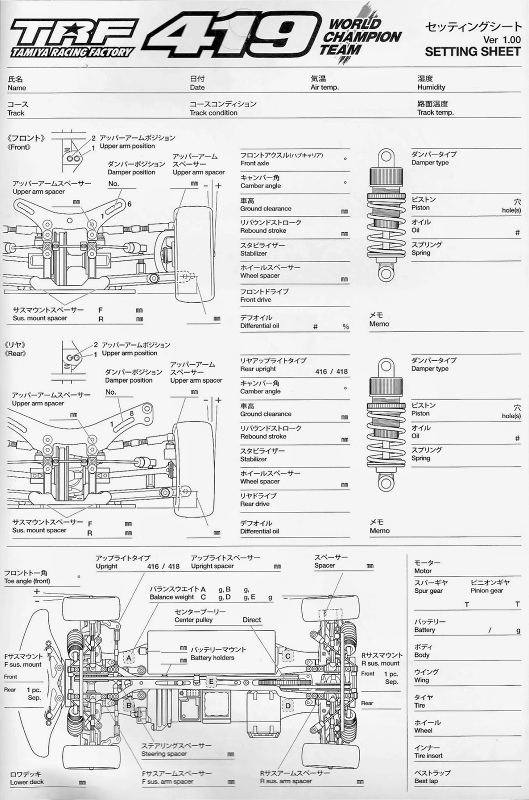 Trf419 Set Up Sheet And Parts Listing