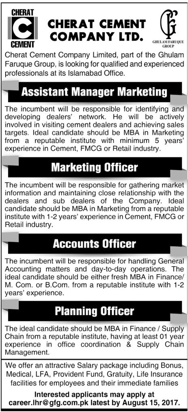 Cherat Cement Company Limited job in Islamabad
