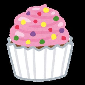 カップケーキのイラスト(ピンク)