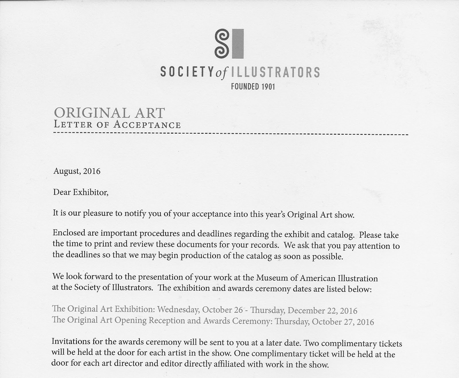 letter of acceptance for school