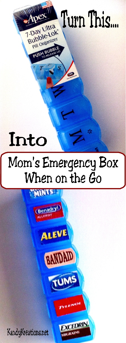 Moms emergency box when on the go everyday parties make a quick and easy emergency first aid kit for your purse when you are on solutioingenieria Gallery