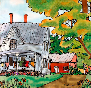 painting on silk, painting, art, farm, house, barn, clothes line, laundry line, silk art,